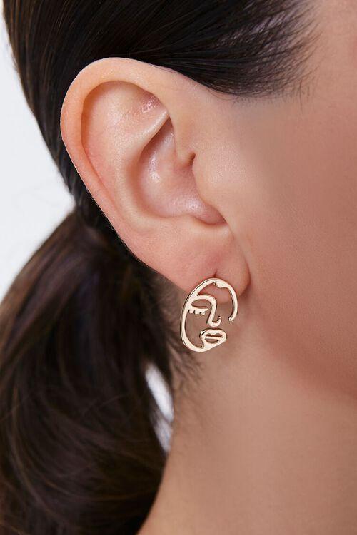 GOLD Cutout Face Stud Earrings, image 1