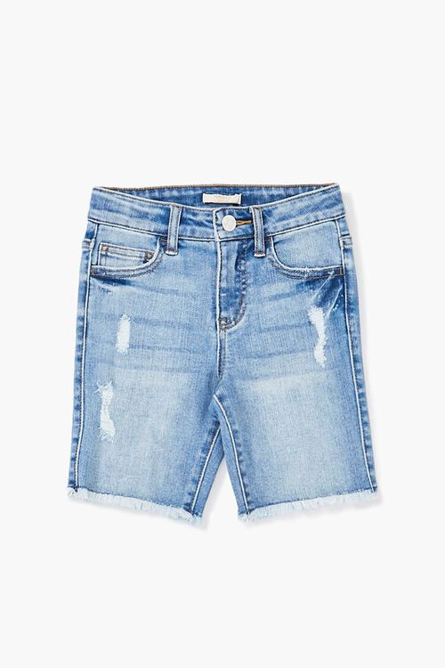 Girls Frayed Denim Bermuda Shorts (Kids), image 1