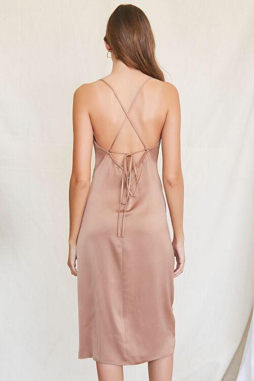 BROWN Satin Cowl Slip Dress, image 3