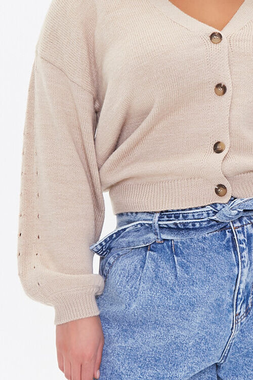 Plus Size Pointelle Cardigan Sweater, image 5