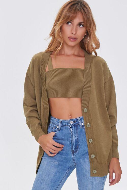 Sweater-Knit Crop Top & Cardigan Set, image 5