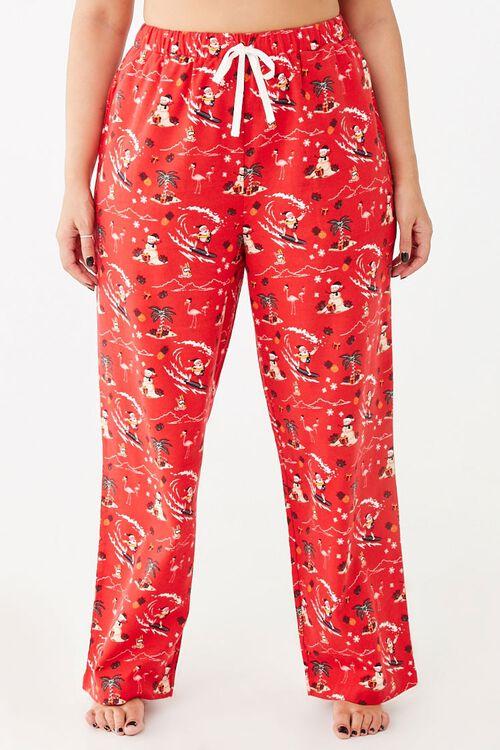 Plus Size Santa Pajama Pants, image 2