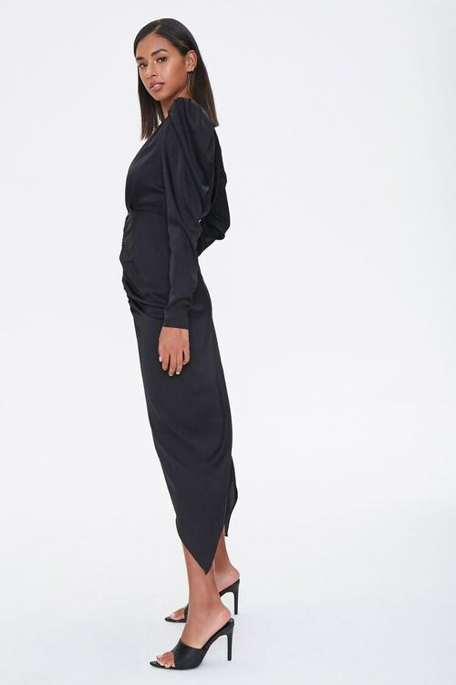 Ruched Puff-Sleeve Midi Dress, image 2