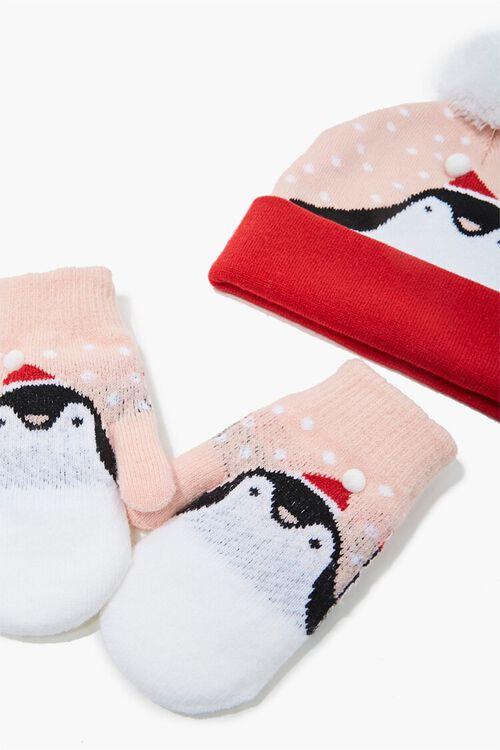 Girls Penguin Beanie & Mittens Set (Kids), image 2