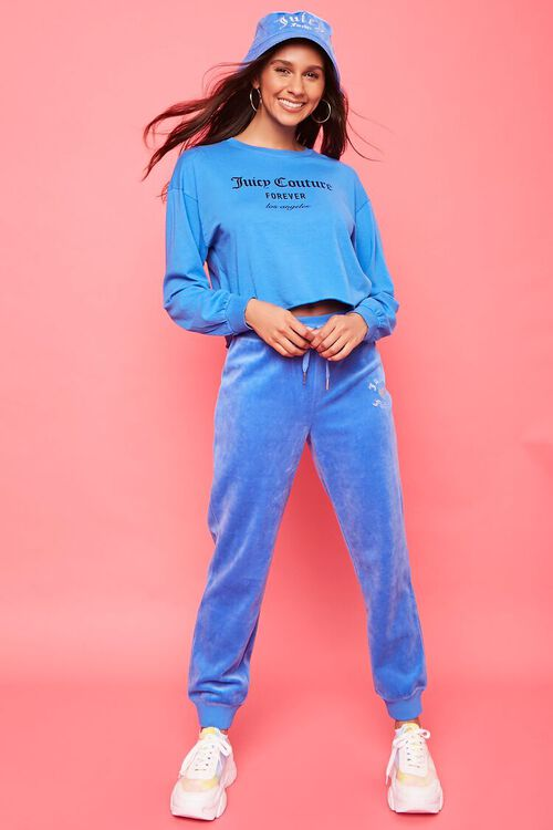 BLUE/SILVER Rhinestone Juicy Couture Velour Joggers, image 1
