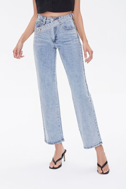 Crisscross Belt Straight-Leg Jeans, image 2