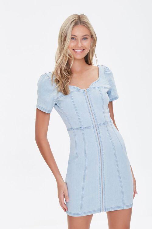 Zip-Front Denim Mini Dress, image 1