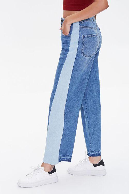 MEDIUM DENIM Side-Striped Wide-Leg Jeans, image 3