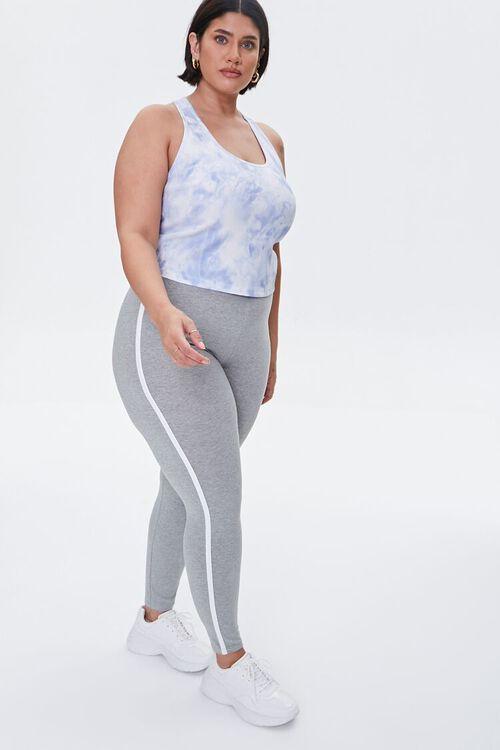 HEATHER GREY/WHITE Plus Size Side-Striped Leggings, image 1