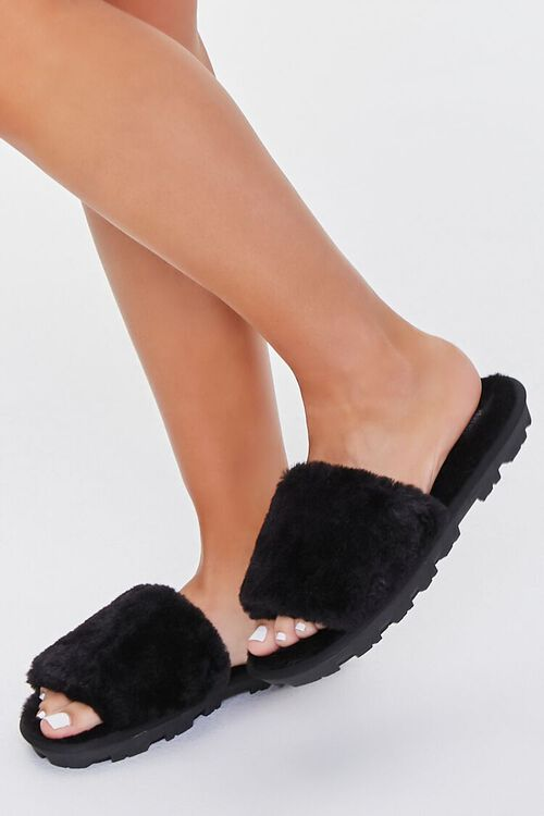 BLACK Faux Fur Lug Sole Slippers, image 1