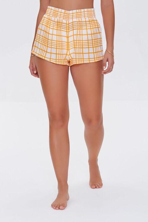 Plaid Swim Cover-Up Shorts, image 2