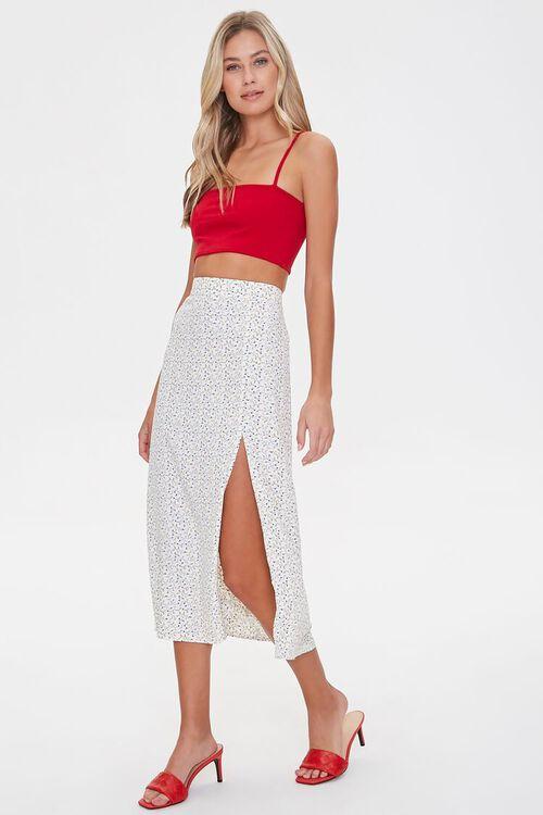 WHITE/MULTI Floral Midi Skirt, image 1