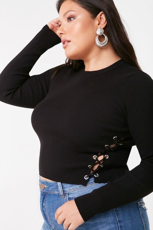 Plus Size Lace-Up Sweater, image 1