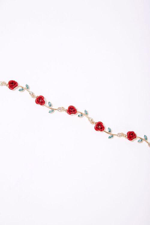 GOLD/RED Rose Charm Faux Gem Bracelet, image 2