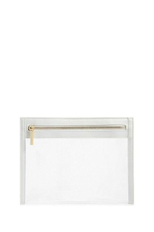WHITE Transparent Zippered Pouch, image 1