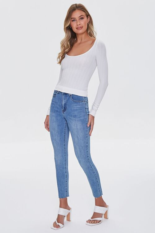 IVORY Ribbed Knit Scoop Top, image 4