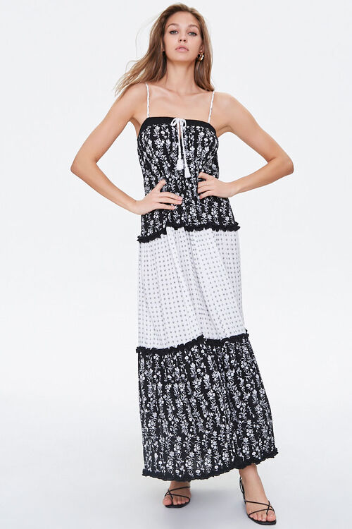 Patternblock Tasseled Maxi Dress, image 1