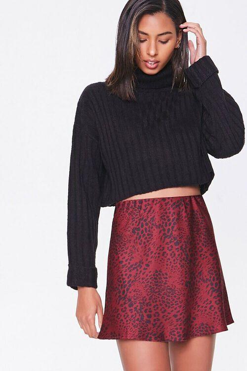 Satin Animal Print Mini Skirt, image 1