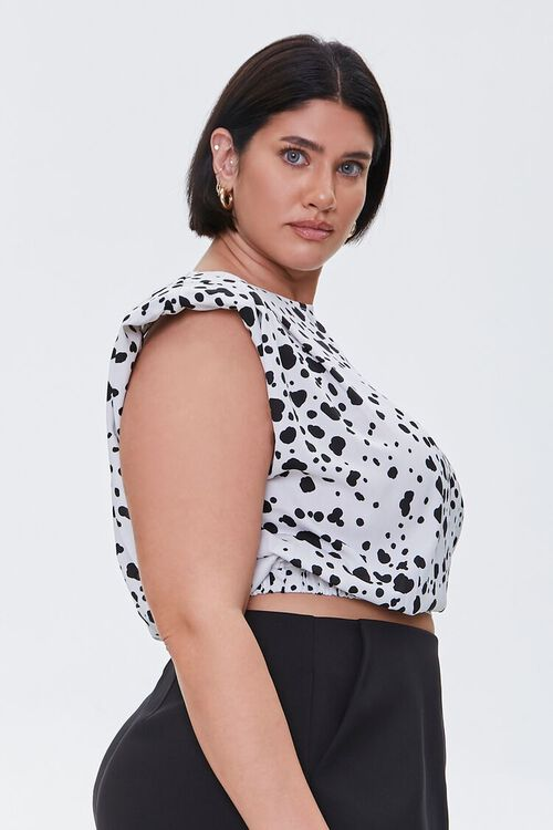 Plus Size Spotted Print Crop Top, image 2