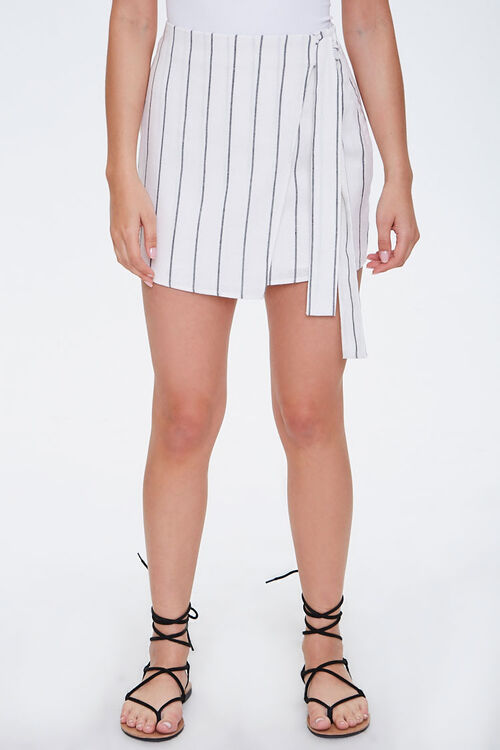 Striped Mock Wrap Skirt, image 2