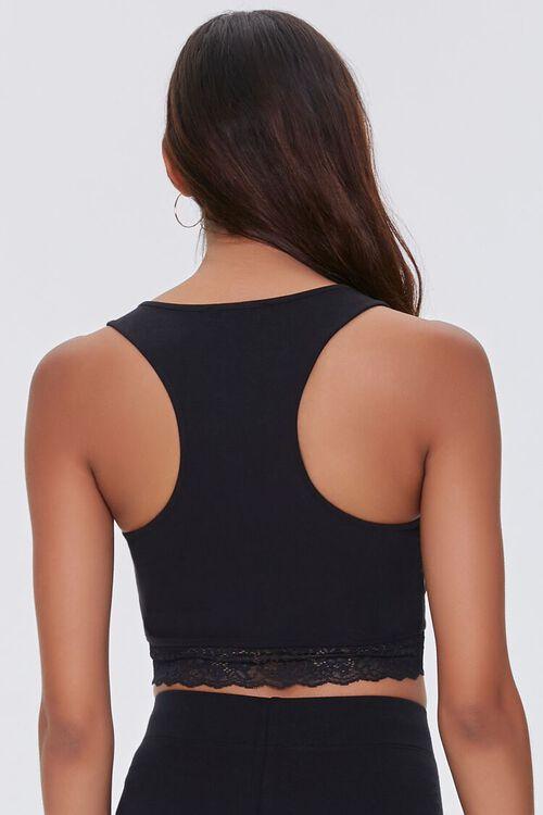 BLACK Lace-Trim Cropped Tank Top, image 3