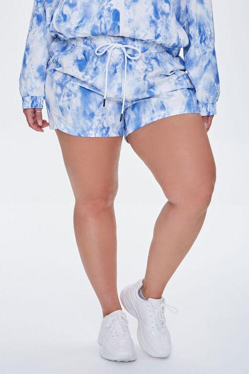 BLUE/WHITE Plus Size Tie-Dye Drawstring Shorts, image 2
