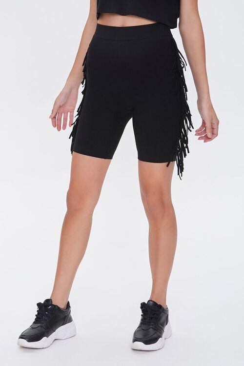 Fringe-Trim Biker Shorts, image 2