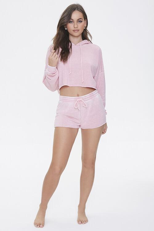 PINK Hooded Heathered Pajama Top, image 4