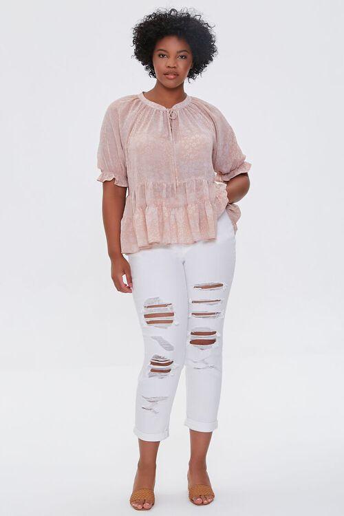 WHITE Plus Size Boyfriend Jeans, image 1