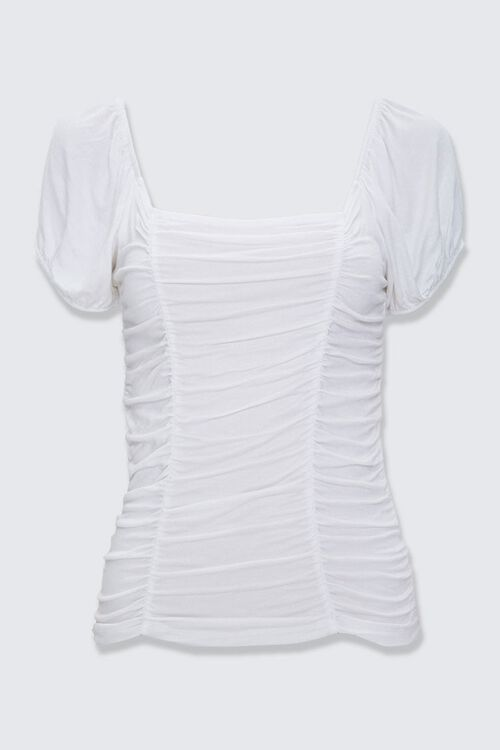 Ruched Peasant-Sleeve Top, image 3