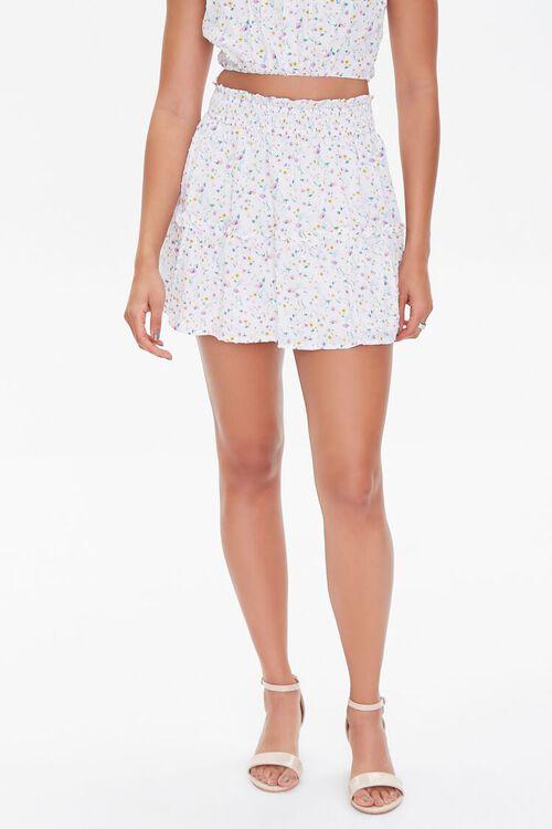 WHITE/MULTI Floral Print Mini Skirt, image 2