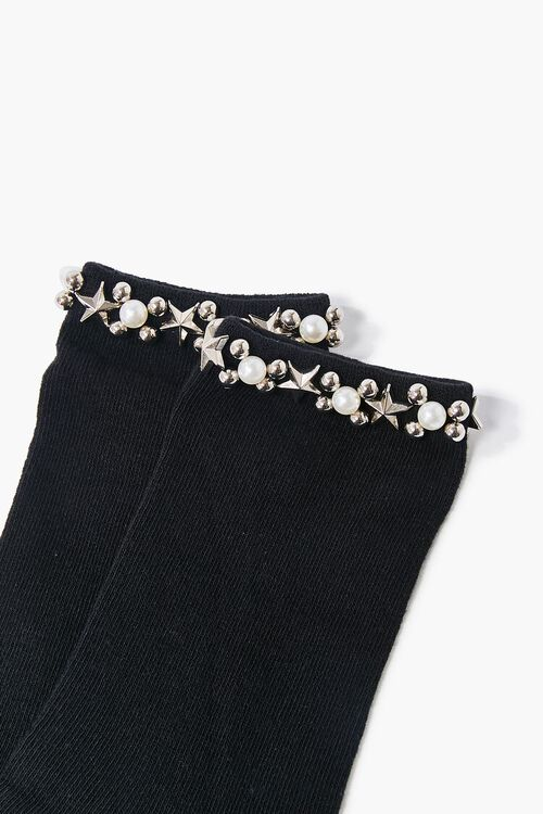 Faux Pearl Embellished Crew Socks, image 3