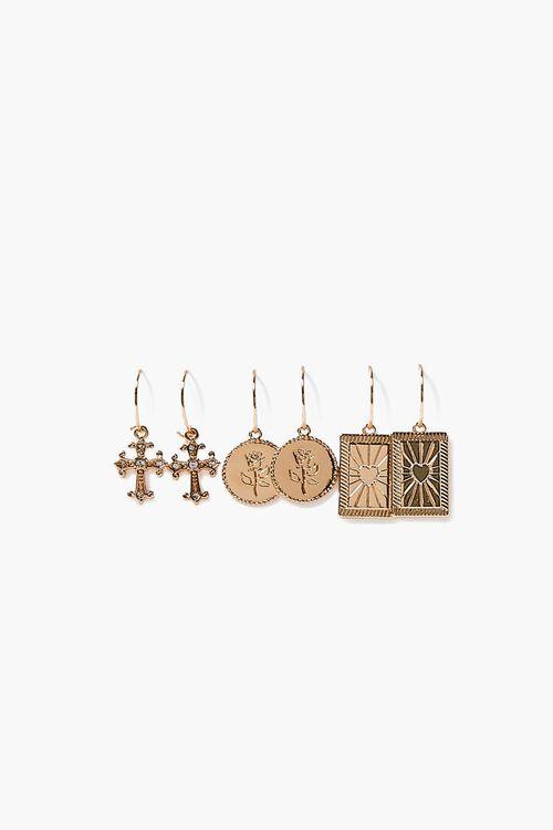 GOLD Ornate Cross Pendant Hoop Earring Set, image 1