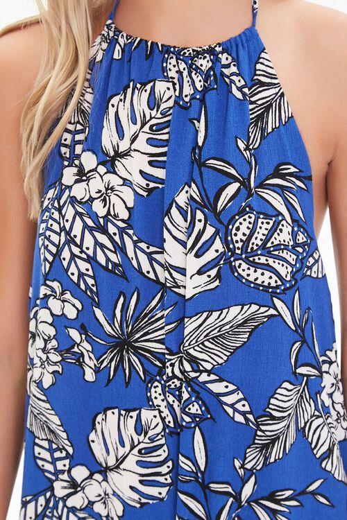 BLUE/CREAM Tropical Leaf Print Halter Dress, image 5