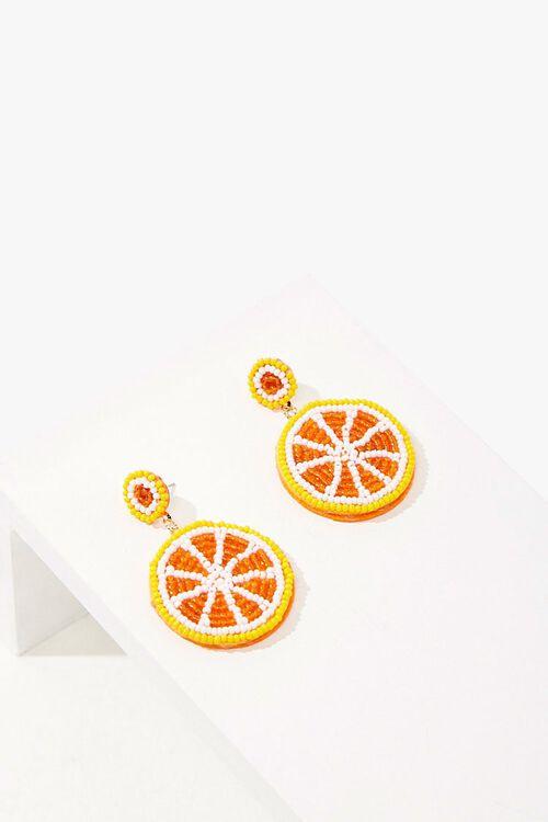 Beaded Orange Slice Drop Earrings, image 2