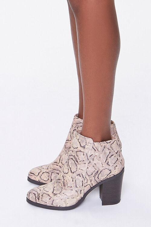 Faux Snakeskin Block Heel Booties, image 2