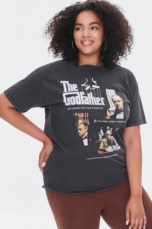 CHARCOAL/MULTI Plus Size The Godfather Graphic Tee, image 1