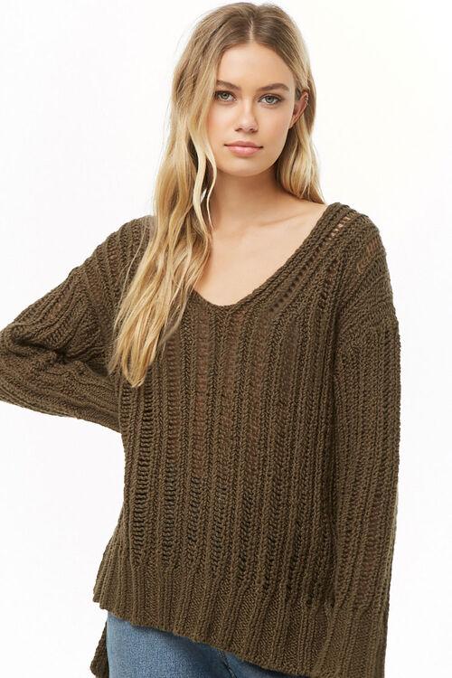 OLIVE V-Neck High-Low Sweater, image 1