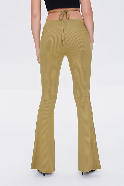 OLIVE Ribbed Knit Self-Tie Flare Pants, image 4