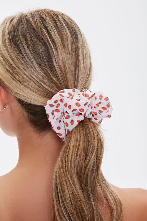 WHITE/RED Strawberry Print Scrunchie, image 1