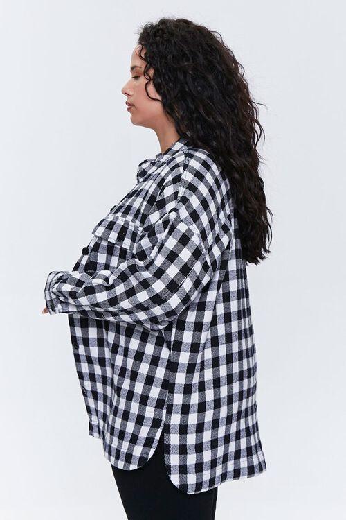 Plus Size Checkered Flap-Pocket Jacket, image 2