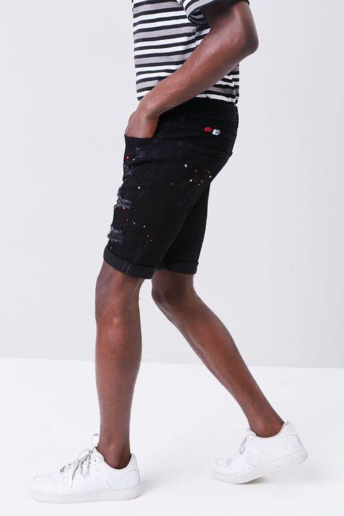Paint Splatter Distressed Denim Shorts, image 3