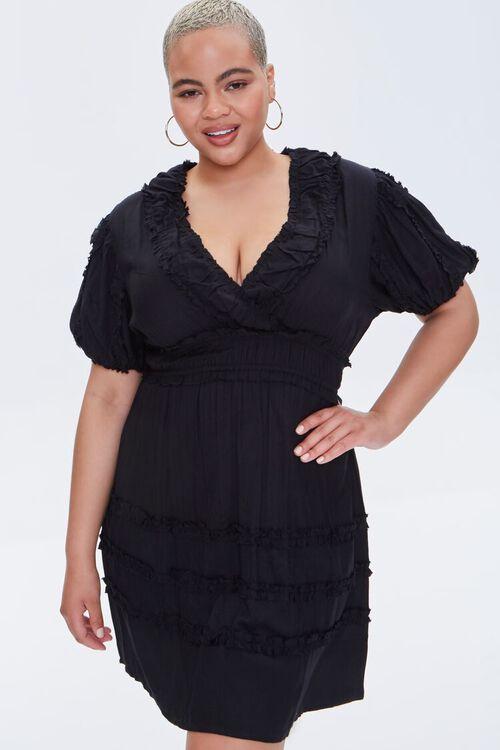 Plus Size Plunging Mini Dress, image 1