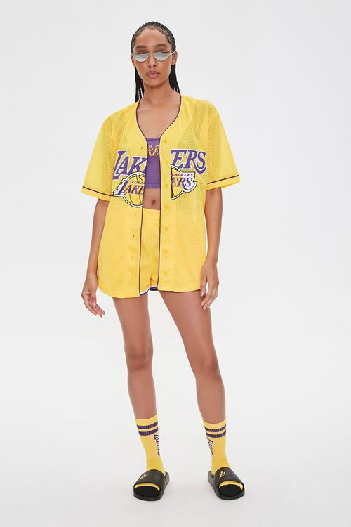 Lakers Graphic Buttoned Mesh Top, image 4
