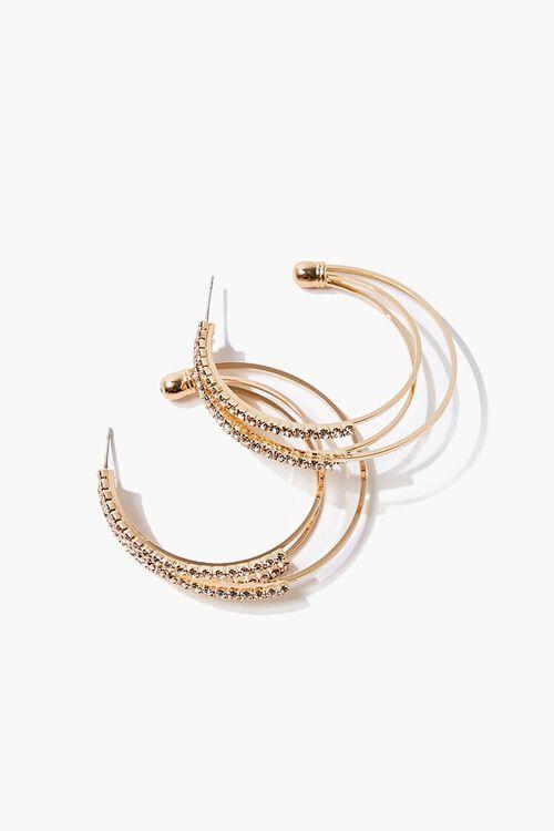 GOLD Tiered Rhinestone Hoop Earrings, image 1
