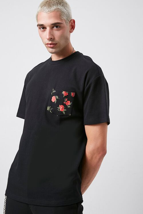 Rose Print Pocket Tee, image 1