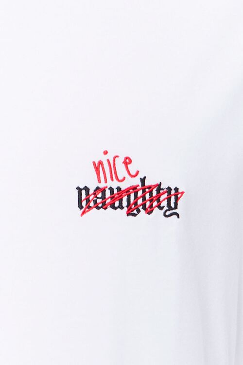 WHITE/RED Naughty Nice Embroidered Graphic Tee, image 3