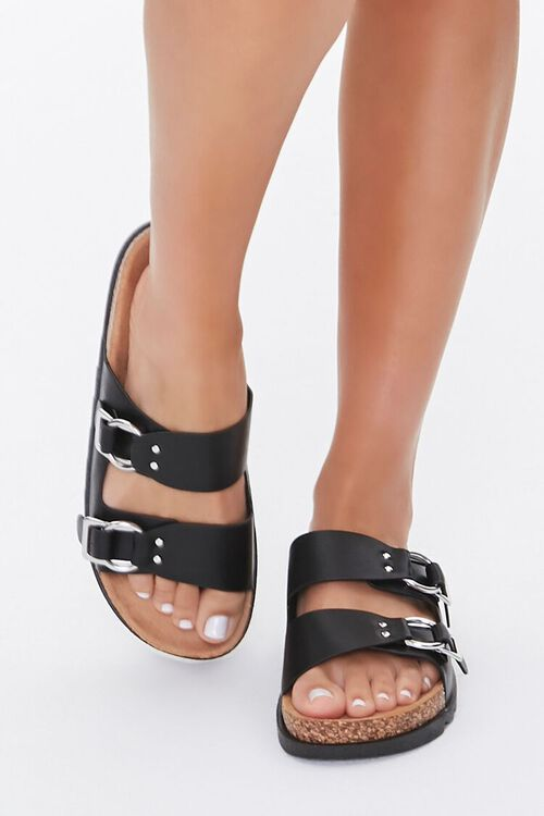 Faux Leather Buckled Sandals, image 2