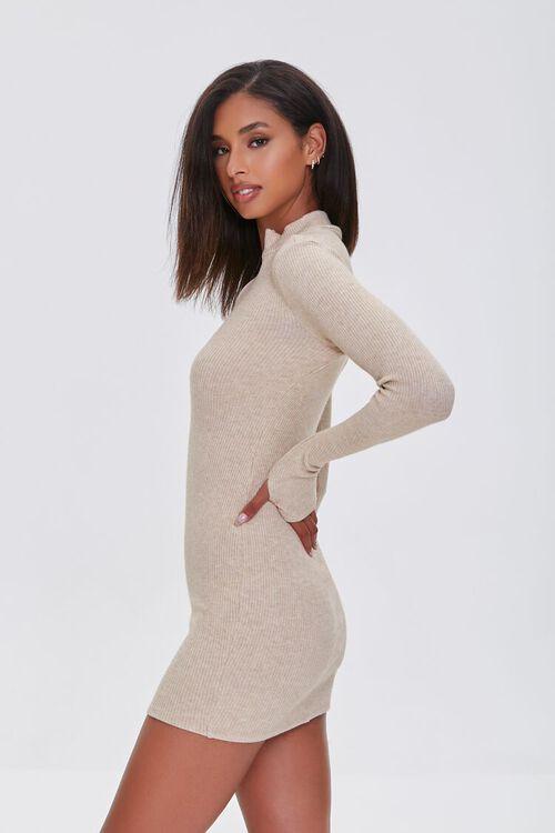 TAUPE Heathered Ribbed Knit Mini Dress, image 2