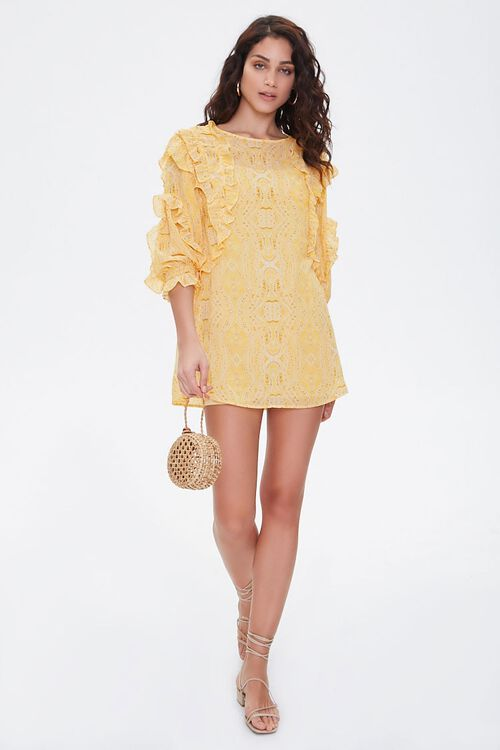 Paisley Ruffled Mini Dress, image 4